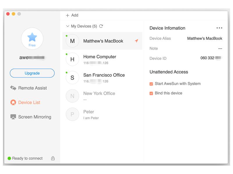 AweSun Remote Desktop for macOS full screenshot